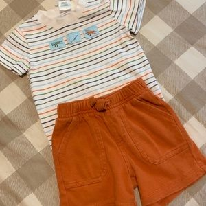 Gymboree Orange Strip Airplane Onesie Short Outfit